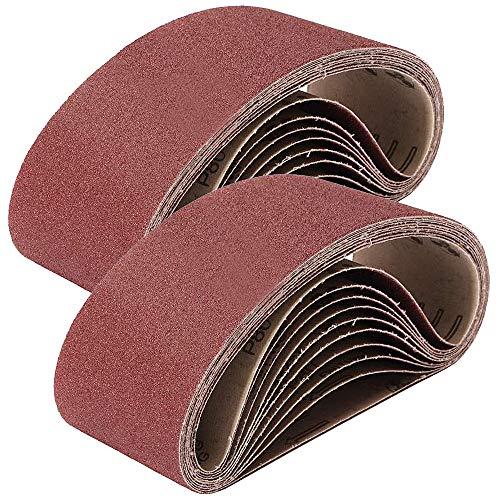 Voche Pack of 18 Assorted Grit Aluminium Oxide Sanding Belts for 75mm x 457mm Belt Sanders