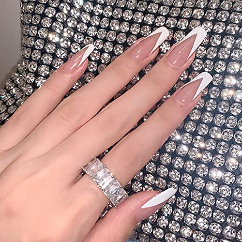Brishow Coffin Long False Nails Fake Nails Pink Ballerina Acrylic Press on Nails Full Cover Stick on Nails 24pcs for Women and Girls