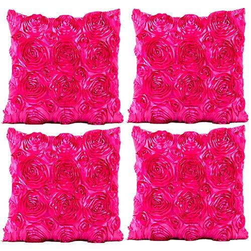 JOTOM Fodera per Cuscino Seta Satinata Colore Solido Rose Federa per Divano Famiglia Soggiorno Camera da Letto Decorazione, 40x40cm, Set di 4 Pezzi(Rose|Rosa Caldo)