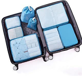 Packing Cubes Waterproof Clothes Storage Bag 8 Set Travel Luggage Packing Organizers with Shoe Bag with Laundry/Toiletry Bag QDDSP (Color : D)