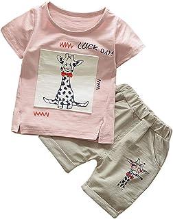 mettime Conjunto de Ropa Infantil con Estampado de Jirafa, Playera + Pantalones Cortos, Ropa para niños y niñas