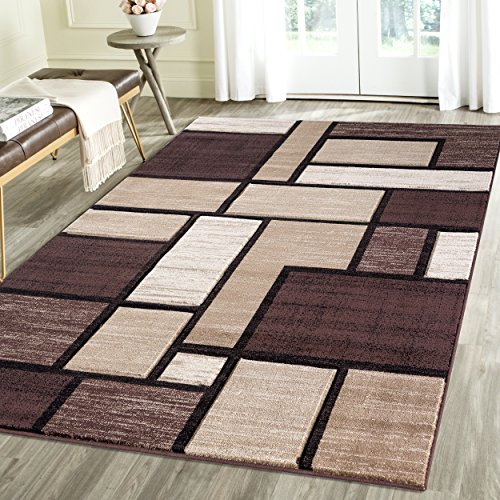 Contemporary Squared Geometric Emerald Collection Area Rug by Rug Deal Plus (5 x 7, Brown/Beige)