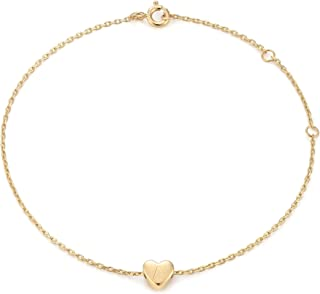 Gold Initial Bracelets for Women Dainty Small Heart Engraved Personalized Letters Bracelet Gift for Her
