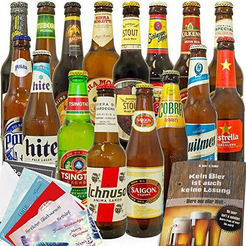 Biere der Welt / 16 Bierflaschen/Geschenkset Freund Geburtstag
