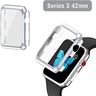 Apple Watch Series 3 Case 42mm, 2win2buy Full Cover Apple Watch Cover Slim Hard PC Plated Protective Bumper Shell with 0.2mm Shockproof Sheld Guard Screen Protector for iWatch 2017/2016 (Silver)