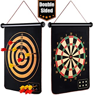 "EITPOTON Magnetic Dart Board for Kids, Indoor Outdoor Board Games Set, Kids Toys Gift for Boys Girls Age 5 6 7 8 9 10 11 12 13 14 15 16 Years Old (Black, 15"") …"