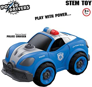 Flybar Power Drivers RC Remote Control Take Apart Cars Trucks, Construction Police, Fire, City Squad, Boys Toys Ages 3 and Up (Blue Police Cruiser)