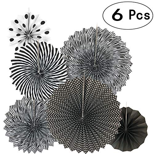 Black Hanging Paper Fans Decorations Ceiling Hangings Baby Shower Bachelorette Halloween Party Photo Booth Backdrops Decorations, 6pc