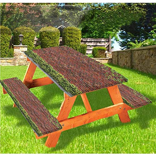 Mantel ajustable para mesa de picnic y banco de ladrillo, con borde elástico, 28 x 72 pulgadas, juego de 3 piezas para camping, comedor, exterior, parque, patio