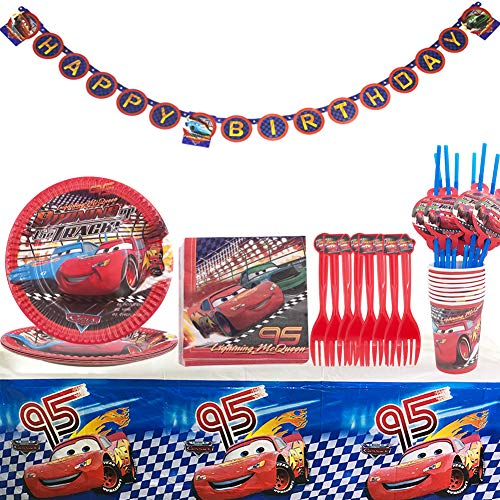 WENTS Cars Kit Party Tisch 52-Teiliges Gebutstag Party Set Teller Becher Servietten Geburtstag Dekoration Set Happy Birthday Deko Bunte Partykette Girlande Banner