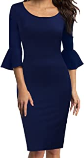 WOOSEA Womens Flounce Bell Sleeve Scoop Neck Office Work Casual Pencil Dress