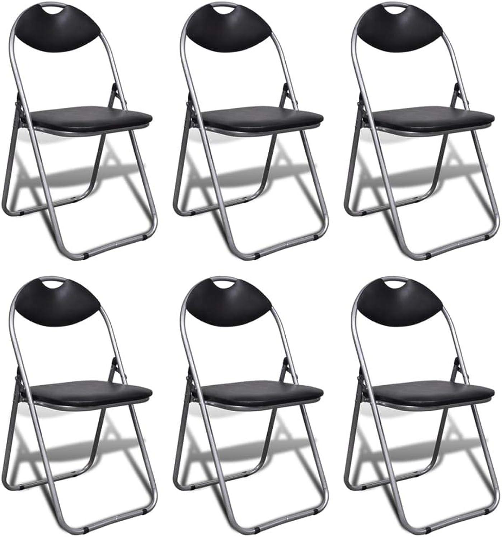 Binzhoueushopping 6 Stück Klappstühle mit Gestell aus Stahl Schwarz Komfortables modernes Design, bequem und robust Hocker Design B07KWSK4MV | Erste Qualität