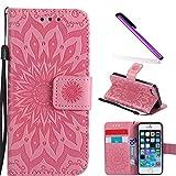 COTDINFOR iPhone 5 Funda Flores Cierre Magnético Billetera con Tapa para Tarjetas de Cárcasa Elegante Retro Suave PU Cuero Caso Protectora Case para iPhone 5 / 5S / SE Sunflower Pink KT