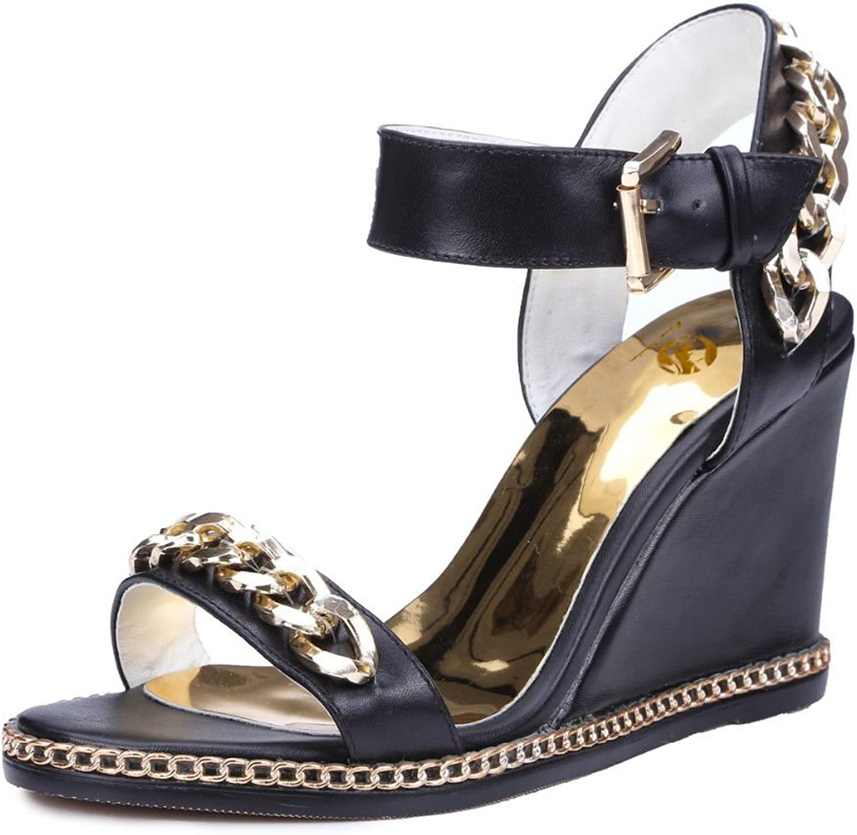 Original Intention Women Sandals Wedges Fashion Open Toe Chain Black White shoes