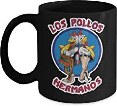 Coffee Mug Tea Cup White 11 Oz Ceramic Los Pollos Hermanos (Black) Breaking Bad Walter jesse Pinkman Cook Merchandise Accessories Shirt Poster Sticker Pin De