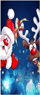 Vosarea Adorno Navideño 3D Vinilo para Puertas de Papel Pegatina de Puerta Autoadhesiva Vinilo Removible de Arte Decoración de Navidad Azul Reno y Papa Noel