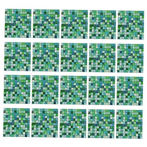 12pcs Adesivi Per Piastrelle Decorativo Domestico Piastrelle Di Mosaico Adesivi Bagno Piastrelle Piastrelle Decalcomanie Autoadesivo Adesivo Di Carta - verde