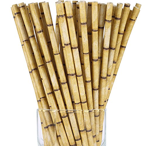 Jovitec 200 Pack Bamboo Print Biodegradable Paper Drinking Straws for Juices Shakes Smoothies