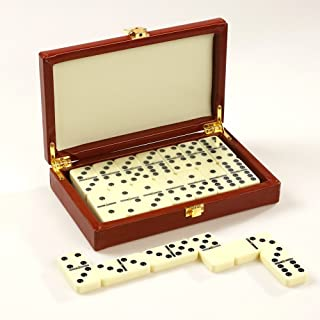 ZOOCEN Double 6 Pro Size Dominoes Set in Leatherette Case (28 Tiles with Spinner)