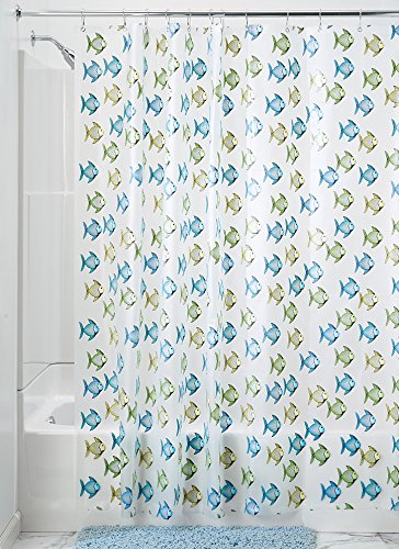 Price comparison product image iDesign 180 x 200 cm Fishy Shower Curtain,  Blue / Green