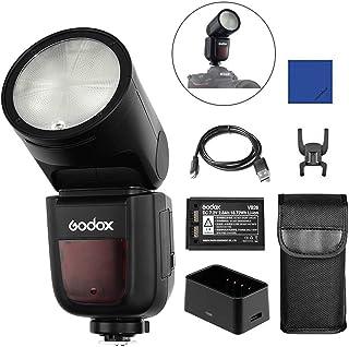 Godox V1N Flash de cámara Cabeza Redonda Speedlight 2.4G TTL 1 / 8000s Speedlight con 2600mAh Batería Lithimu para Nikon D5300 D750 D800 D700 Z7 7000 Z7 Z6 Cámaras Portrait Studio