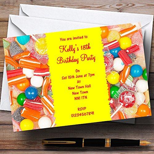 Kinderfeest nodigt snoepjes Gepersonaliseerde Kinderfeestuitnodigingen voor kinderen uit met enveloppen - Elke aangepaste tekst voor elke gelegenheid 40 Cards & Envelopes