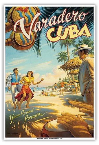 Pacifica Island Art La Habana, Cuba-Todo el Año Paradise-Bailarines cubanos nativos con Maracas-Cartel del Viaje del Mundo del Vintage Kerne Erickson-Arte Master Print-13x19