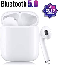 Bluetooth 5.0 Wireless Earbuds Noise Canceling Sports 3D Stereo Headphones with【24Hr Playtime】 IPX5 Waterproof, Pop-ups Auto Pairing, Built-in Binaural Mic Headset for Android/iPhone Apple Airpods