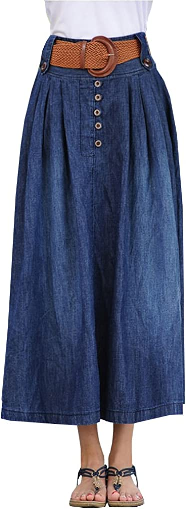 Wsirmet Women's Fashion High Waisted Pleated Denim Jean Midi Skirt with Elastic Waist