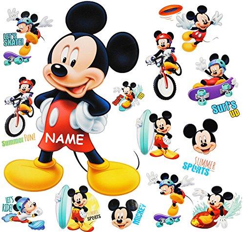 alles-meine.de GmbH 16 TLG. Set _ Wandtattoo / Sticker + Fensterbilder -  Mickey Mouse  - incl. Name - Wandsticker + Fenstersticker - Aufkleber für Kinderzimmer - Maus Playhous..