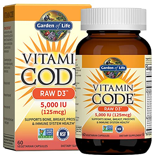 Garden of Life Vitamin D, Vitamin Code Raw D3, Vitamin D 5,000 IU, Raw Whole Food Vitamin D Supplements with Chlorella, Fruit, Veggies & Probiotics for Bone & Immune Health, 60 Vegetarian Capsules