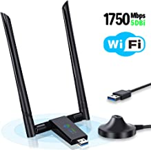 USB WiFi Adapter 1750Mbps, Onvian USB 3.0 Wireless Network WiFi Dongle with Dual 5dBi Antenna, 802.11ac Dual Band 2.4GHz/5.8GHz for Desktop Laptop PC, Supports Windows XP/Vista/7/8/10 Linux Mac