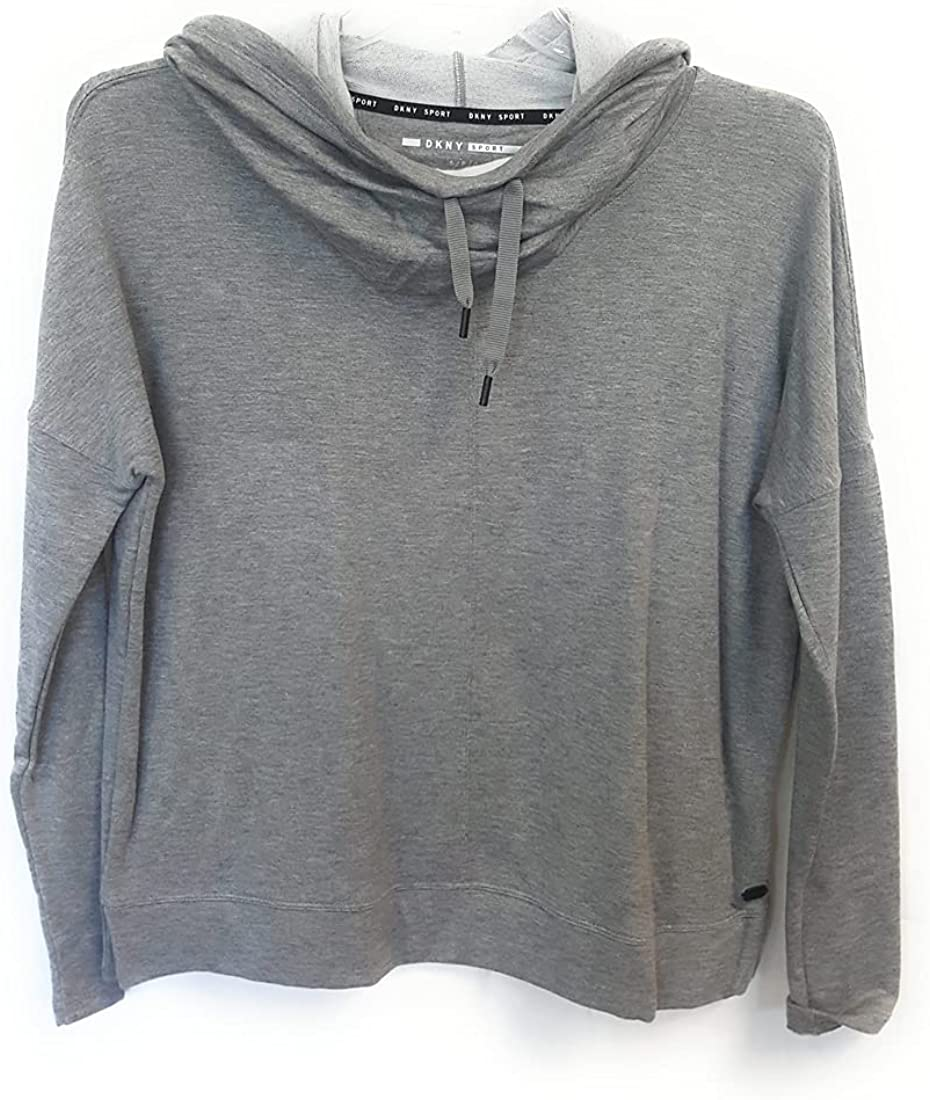 DKNY Sport Cowl Neck Long Sleeve Pullover, Heather Grey, Large