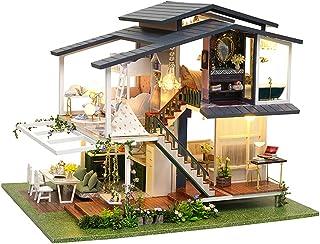 CUTEBEE Miniature avec des Meubles de Maison de poupée, kit DIY Dollhouse en Bois Ainsi Que la poussière et Le Mouvement d...