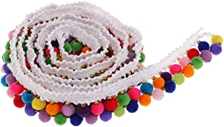 Black joyMerit 5 Yards//roll Colorful Pom Pom Lace Trim Plush Ball Fringe Ribbon Sewing Band DIY