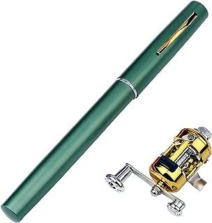 Old street Mini Portable Pen Fishing Rod Aluminum Alloy Color ice Fishing Rod Children Gifts Pocket Fishing Rod Spinning Bait Casting Rod,Green,1m