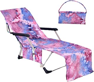 Idubai Beach Chair Towel with Side Pockets,Microfiber Chaise Lounge Towel Cover for Sun Lounger Pool Sunbathing Garden Beach Hotel,Easy to Carry Around,No Sliding,Tie-Dye Purple(82.5