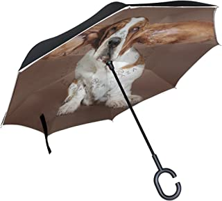My Daily Double Layer Inverted Umbrella Cars Reverse Umbrella Basset Hound Dog Flying Ears Windproof UV Proof Travel Outdoor Umbrella