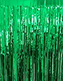 GOER 3.2 ft x 9.8 ft Metallic Tinsel Foil Fringe Curtains for Party Photo Backdrop Wedding Decor (Green,1 Pack)