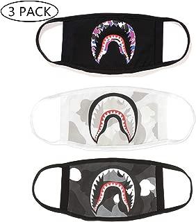 NF orange Bape Bathing Ape AAPE Shark Black Camouflage Mouth Face Mask Cotton Mouth-Muffle ((3) 3pcs) (Black, White, Gray)