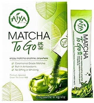 Aiya Matcha To Go Single Serve Ceremonial Grade Pure Matcha Green Tea Power  10 Count