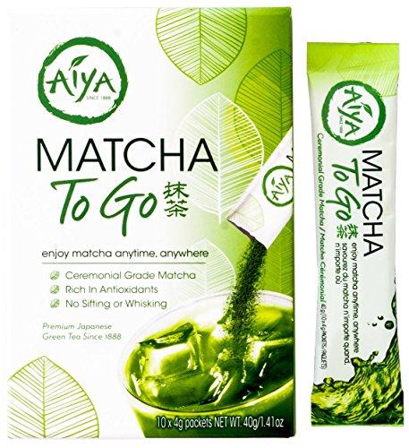Aiya Matcha To Go Single Serve Packs - Ceremonial Grade Pure Matcha Green Tea Powder (10 Count)