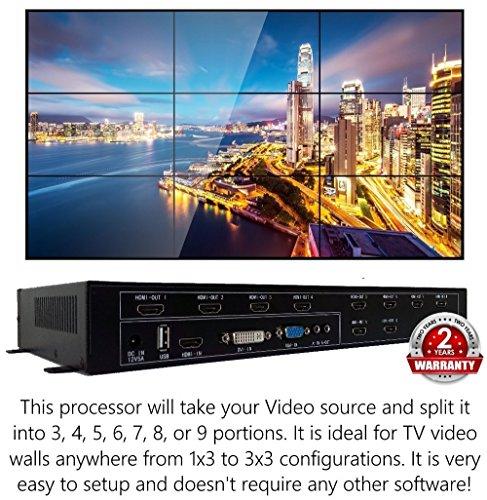 3x3 HDMI Video Wall Processor (2020 Version) HD TV 1080P Matrix Controller Splicer Splitter Display 3x2 2x2 3x1 1x3 2x3 4x2 2x4