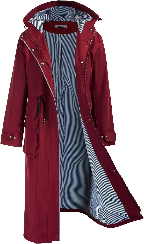 JASAMBAC Rain sale Jacket Women Raincoat Max 46% OFF Lightweigh Hooded Waterproof