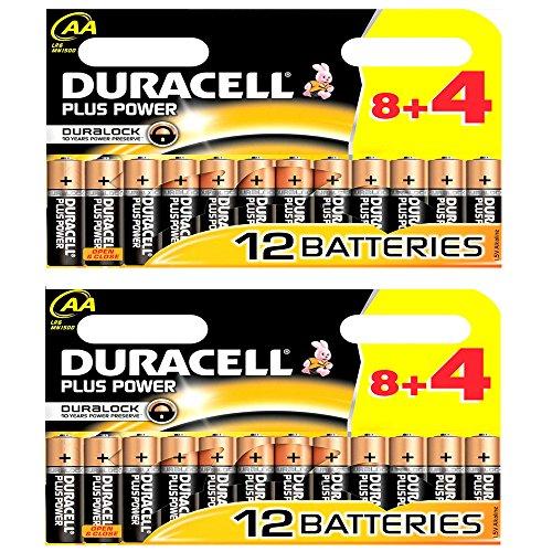 24 x AA Duracell Plus Power Duralock Alkaline Mignonbatterien, 1,5V, MN1500 LR0 - 2 x 8+4