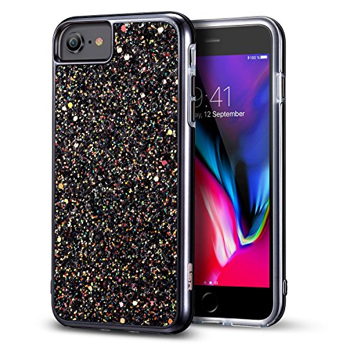 iPhone 8 Case iPhone 7 Case ESR Glitter Bling Hard Cover with Dual Layer Structure Hard PC Back Outer  Soft TPU Inner for Apple 47quot iPhone 8 /iPhone 7Black