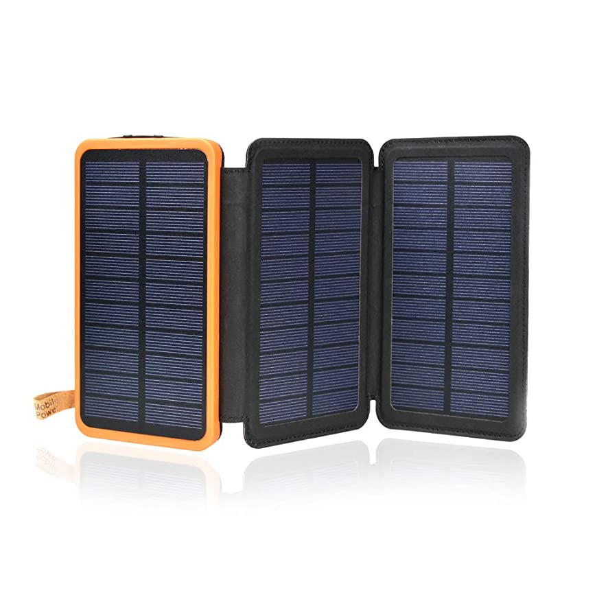Solar Charger 12000mAh,EREMOKI Outdoor Portable Power Bank with 3 Solar Panels, Fast Charge External Battery Pack with Dual 2.1A Output USB Compatible with Smartphones,Tablets,etc.(Waterproof) (black)
