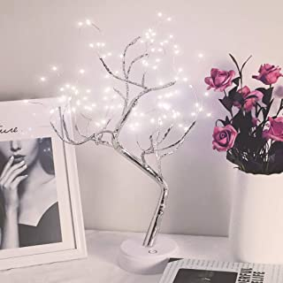 Qunlight Upgraded Copper Wire Tree Branch Decorative No Heat Lights,USB&Battery Powered,20Inch 108 Cool White LED,Table Lamp for Home Decoration,Wedding Sign,Living Room,Bedroom Or Bar(Cool White)