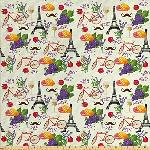 Ambesonne European Fabric by The Yard, French Themed Paris Must Have Macarons Wines Grapes Bikes Berries Eiffel Art Print, Decorative Fabric for Upholstery and Home Accents, 1 Yard, Purple Cream