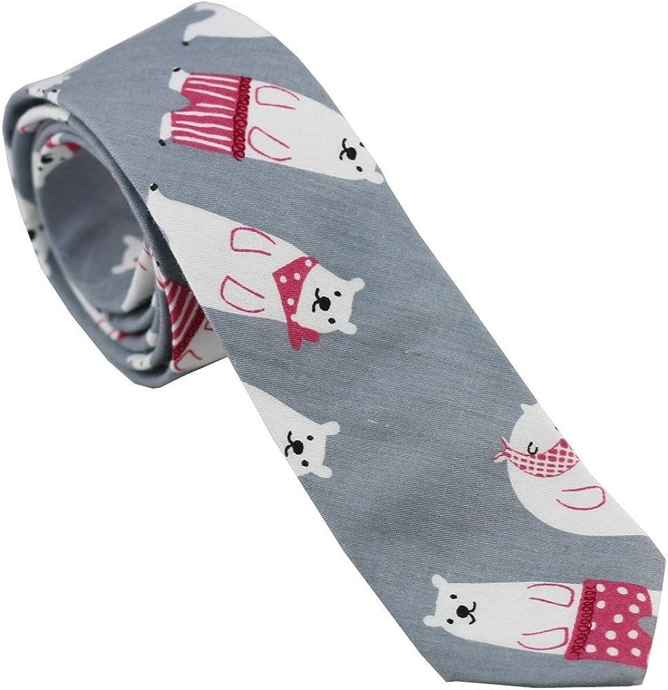 Coachella Ties Grey Bear Pattern Cotton Necktie Skinny Tie Pocket Square Bowtie (Tie)